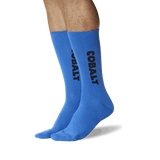 Men's Color Names Crew Socks Cobalt Blue On Leg Image One
