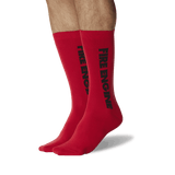 Men's Color Names Crew Socks Red On Leg Image One