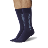 Men's Color Names Crew Socks Midnight Blue On Leg Image One