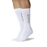 Men's Color Names Crew Socks White On Leg Image One