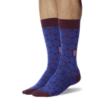Men's Standout Dots Crew Socks Burgundy On Leg Image One