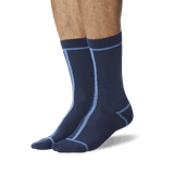 Men's Front and Back Stripe Socks Navy On Leg Image One thumbnail