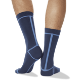 Men's Front and Back Stripe Socks in Navy