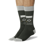 Men's Libra Zodiac Socks Olive On Leg Image One