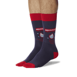 Men's Aquarius Zodiac Socks Navy On Leg Image One thumbnail
