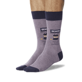 Men's Gemini Zodiac Socks Purple On Leg Image One