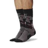 Men's World Map Crew Socks Black On Leg Image One thumbnail