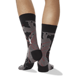 Men's World Map Crew Socks in Black
