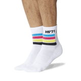 Men's HS '71 Quarter Socks White On Leg Image One thumbnail