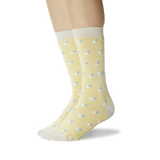 Women's Pills Crew Socks Light Yellow On Leg Image One