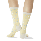 Women's Pills Crew Socks Light Yellow Back of Leg