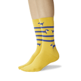 Women's Striped Dachshund Crew Socks Mustard On Leg Image One thumbnail