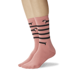 Women's Striped Dachshund Crew Socks Deep Coral On Leg Image One thumbnail