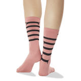 Women's Striped Dachshund Crew Socks Deep Coral Back of Leg thumbnail