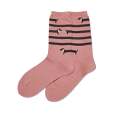 Women's Striped Dachshund Crew Socks thumbnail
