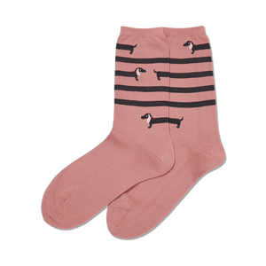 Women's Striped Dachshund Crew Socks
