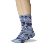 Women's Lion Camouflage Crew Socks Blue On Leg Image One thumbnail