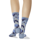 Women's Lion Camouflage Crew Socks Blue Back of Leg thumbnail