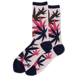 Women's Weed Leaf Crew Socks