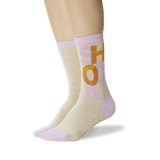 Women's Shook Crew Socks Taupe On Leg Image One