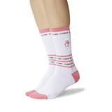Women's Flamingo Embroidery Socks White On Leg Image One