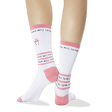 Women's Flamingo Embroidery Socks White Back of Leg