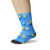 Women's Blue Oranges Tube Socks Turquoise On Leg Image One
