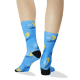 Women's Blue Oranges Tube Socks Turquoise Back of Leg thumbnail
