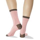 Women's Floral Texture Crew Socks Peach Back of Leg
