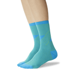 Women's Unparalleled Stripes Crew Socks Bright Blue On Leg Image One thumbnail