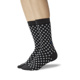 Women's Standout Dots Crew Socks Black On Leg Image One