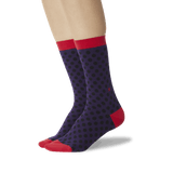 Women's Standout Dots Crew Socks Purple On Leg Image One