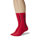 Women's Color Names Crew Socks Red On Leg Image One