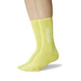 Women's Color Names Crew Socks Neon Yellow On Leg Image One