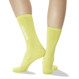 Women's Color Names Crew Socks in Neon Yellow