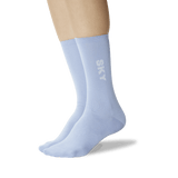 Women's Color Names Crew Socks Light Blue On Leg Image One