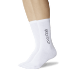Women's Color Names Crew Socks White On Leg Image One