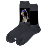 Women's Girl With The Pearl Selfie Crew Socks