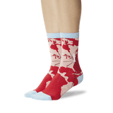 Women's World Map Crew Socks Red On Leg Image One