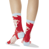 Women's World Map Crew Socks Red Back of Leg