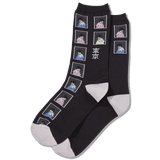 Women's Geisha Stamps Crew Socks