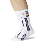 Women's Compression Crew Socks White On Leg Image One