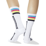 Women's Compression Crew Socks White Back of Leg