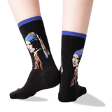 Women's Vermeers Girl With a Pearl Earring Socks in Royal Purple Front