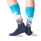 Men's Hokusai's Great Wave Socks in Blue Front