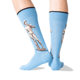 Men's Michelangelo's David Crew Socks in Blue Front thumbnail