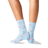 Womens Wedding Cakes Crew Socks in Pale Blue Front