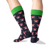 Men's Pirate Skull Crew Socks in Navy Front