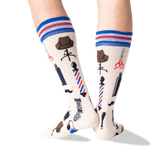 Men's Barber Shop Crew Socks in Natural Melange Front thumbnail