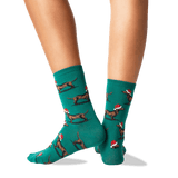 Womens Christmas Dachshunds Socks in Pine Front thumbnail